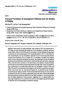 Seasonal Variations of Atmospheric Pollution and Air Quality in ... - MDPI