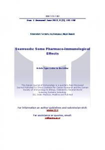 Seaweeds - Iranian Journal of Immunology