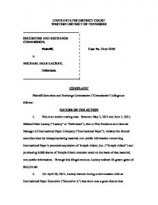 SEC Complaint: Michael Dale Lackey - Securities and Exchange ...