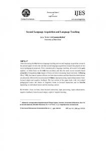 Second Language Acquisition and Language Teaching - Eric