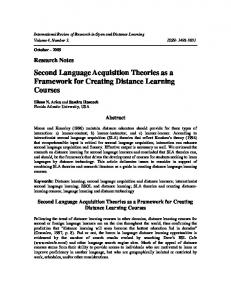 Second Language Acquisition Theories as a ... - LearnTechLib