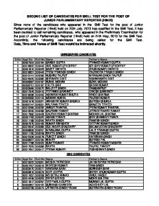 SECOND LIST OF CANDIDATES FOR SKILL TEST FOR THE POST ...