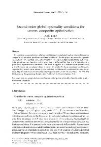 Second-order global optimality conditions for convex ... - Springer Link