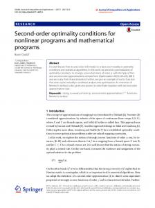 Second-order optimality conditions for nonlinear ... - Semantic Scholar