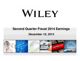 Second Quarter Fiscal 2014 Earnings