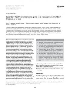 Secondary health conditions and spinal cord injury: an ... - CiteSeerX