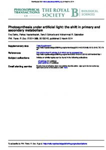 secondary metabolism Photosynthesis under artificial