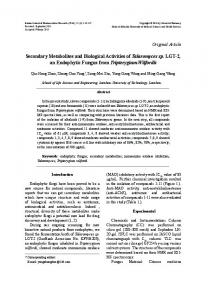 Secondary Metabolites and Biological Activities of ... - Semantic Scholar
