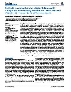 Secondary metabolites from plants inhibiting ABC ... - BioMedSearch