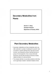 Secondary Metabolites from Plants Plant Secondary Metabolites