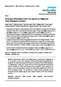 Secondary Metabolites from Two Species of Tolpis and Their ... - CSIC