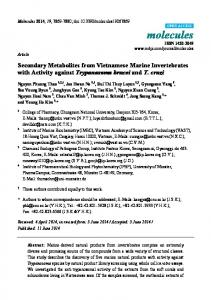 Secondary Metabolites from Vietnamese Marine Invertebrates ... - MDPI