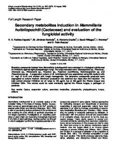 Secondary metabolites induction in Mammillaria huitzilopochtli