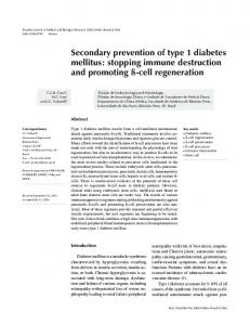Secondary prevention of type 1 diabetes mellitus: stopping ... - SciELO