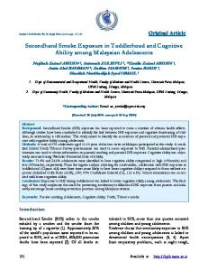 Secondhand Smoke Exposure in Toddlerhood and ...