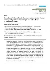 Secondhand Tobacco Smoke Exposure and Associated ... - MDPI