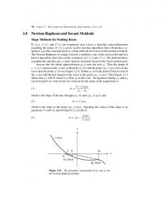 Section 2.4 Newton-Raphson and Secant Methods