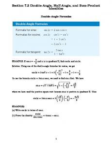 Section 7.3 Double-Angle, Half-Angle, and Sum-Product Identities