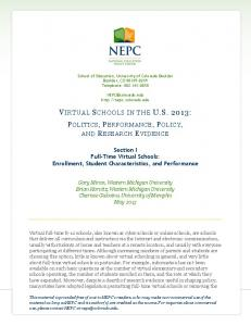 Section I Full-Time Virtual Schools - National Education Policy Center