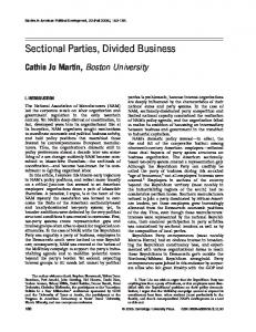 Sectional Parties, Divided Business - BU Personal Websites - Boston ...