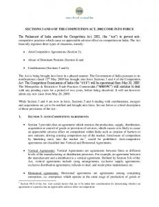 SECTIONS 3 AND 4 OF THE COMPETITION ACT, 2002 COME ...