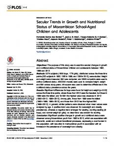 Secular Trends in Growth and Nutritional Status of ... - PLOS