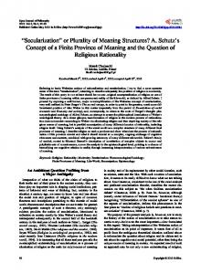 Secularization - Scientific Research Publishing
