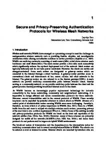 Secure and Privacy-Preserving Authentication Protocols for Wireless ...