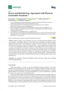 Secure and Reliable Key Agreement with Physical Unclonable ... - MDPI