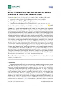 Secure Authentication Protocol for Wireless Sensor Networks ... - MDPI