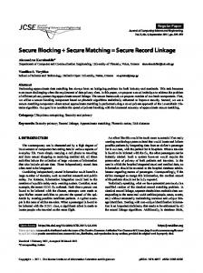 Secure Blocking + Secure Matching = Secure Record Linkage