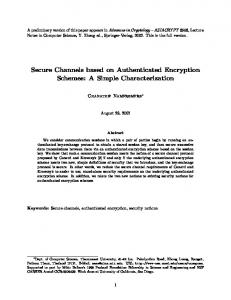 Secure Channels based on Authenticated Encryption Schemes: A ...