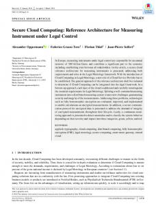 Secure Cloud Computing: Reference ... - Wiley Online Library