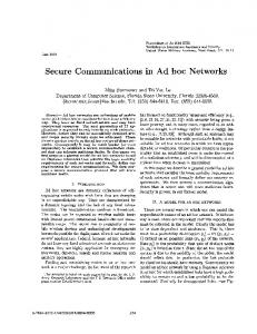 Secure Communications in Ad hoc Networks ... - FSU Computer Science