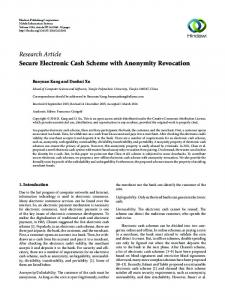 Secure Electronic Cash Scheme with Anonymity Revocation