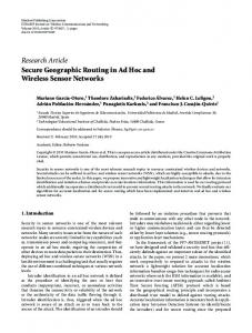 Secure geographic routing in ad-hoc and wireless sensor networks