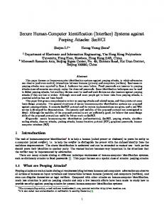 Secure Human-Computer Identification - Cryptology ePrint Archive