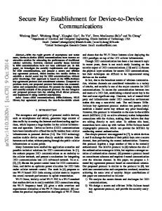 Secure Key Establishment for Device-to-Device Communications - arXiv