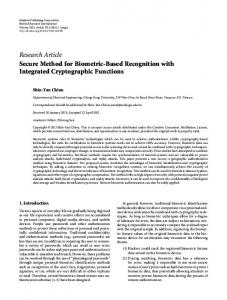 Secure Method for Biometric-Based Recognition with Integrated
