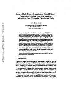Secure Multi-Party Computation Based Privacy Preserving Extreme ...