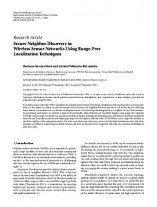Secure Neighbor Discovery in Wireless Sensor Networks Using ...