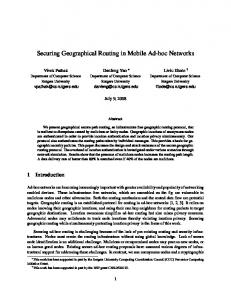 Securing Geographical Routing in Mobile Ad-hoc Networks - CiteSeerX