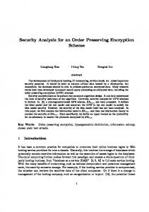 Security Analysis for an Order Preserving Encryption Scheme
