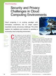 Security and Privacy Challenges in Cloud Computing ... - Sefcom