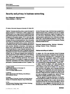 Security and privacy in business networking - Publikationsdatenbank ...