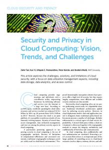 Security and Privacy in Cloud Computing: Vision ... - IEEE Xplore