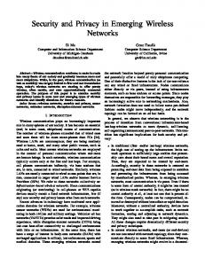 Security and Privacy in Emerging Wireless Networks - Semantic Scholar