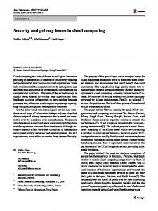 Security and privacy issues in cloud computing - Springer Link