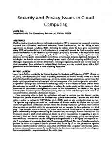 Security and Security and Privacy Issues in Cloud ... - Semantic Scholar