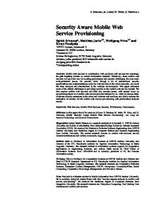Security Aware Mobile Web Service Provisioning - Semantic Scholar